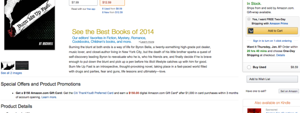 Burn Me Up Fast is officially published on on Amazon.com as of Jan 1, 2015!!!!